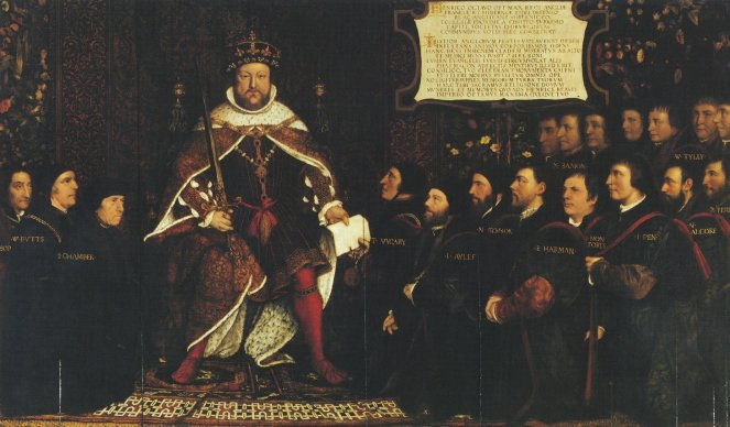 Painting depicting a seated Henry VIII with members of the Barber-Surgeons Company standing around him to the left and right