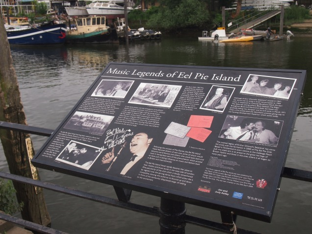 Eel Pie Island's musical heritage is commemorated on this display on Twickenham Riversite