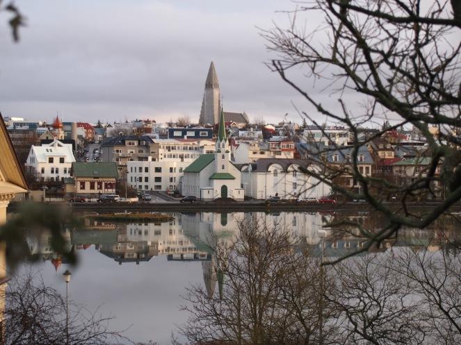 The view from Hólavallagarður - the grey spire is that of Hallgrimskirkja