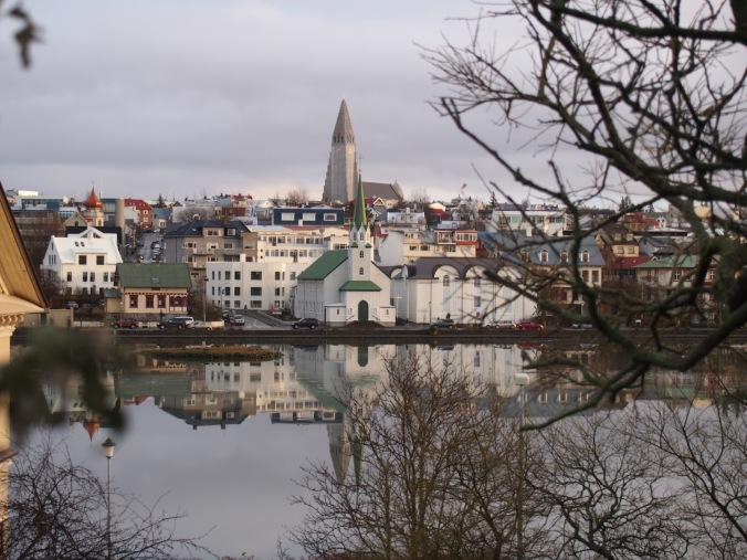 The view from Hólavallagarður - the grey spire is that of Hallgrimskirkja