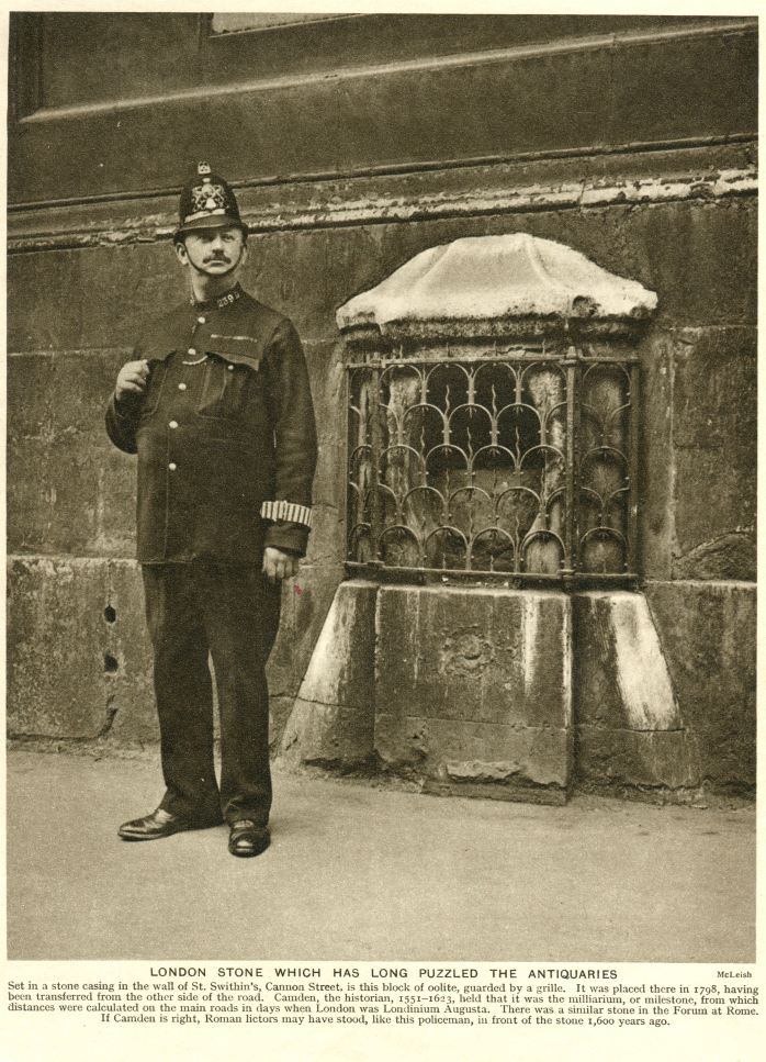 1927 photograph of a policeman standing by the London Stone (public domain image - source)