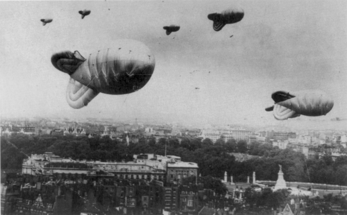 Barrage balloons over London during the Second World War (image from Wikimedia Commons)