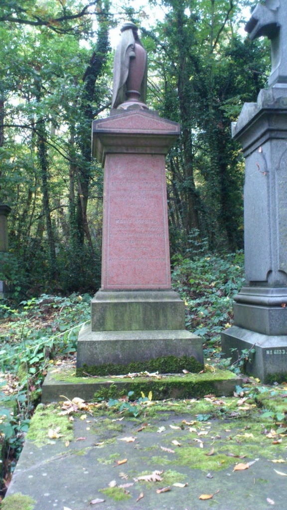 This grave, one of those painstakingly restored by the Friends of Nunhead Cemetery, is the resting place of two sisters in their nineties who died within 48 hours of each other in December 1887.