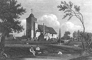 St Pancras Old Church in 1815 (image courtesy of Wikimedia Commons)