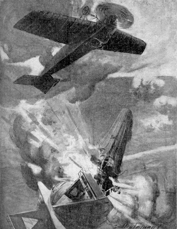 """The Great Aerial Exploit of Lieutenant Warneford"" (image from Wikimedia Commons)"