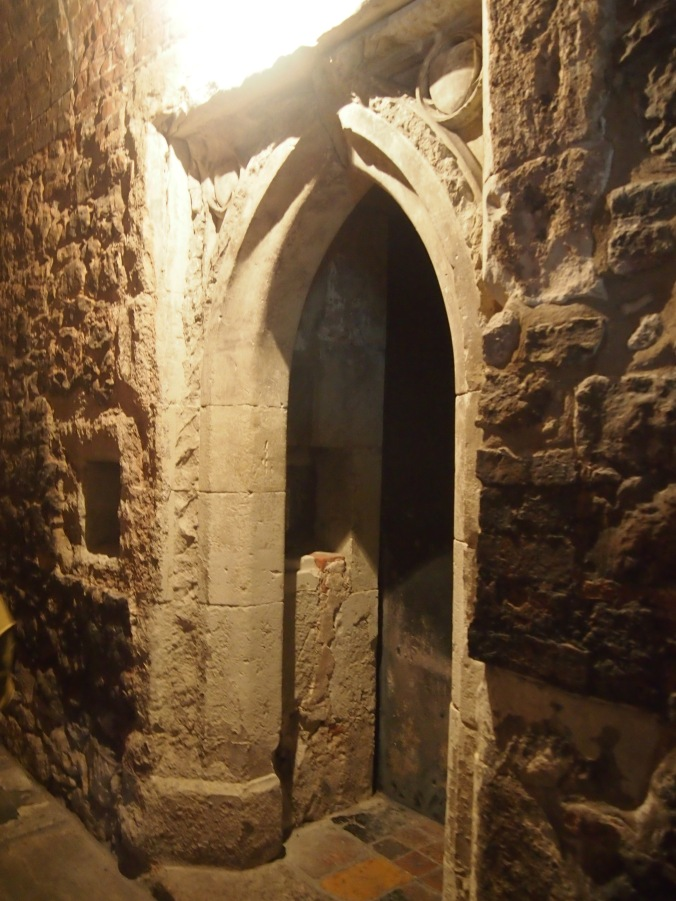The last remaining cell door from the medieval priory. The little alcove next to the door was where the monk's meals were left for him.
