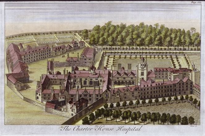 A 1770 engraving of the Charterhouse (image from Wikimedia Commons)