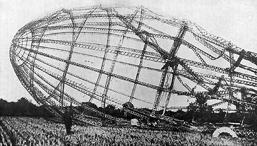 Wreck of a shot down Zeppelin, 23rd September 1916 (image from Wikimedia Commons)