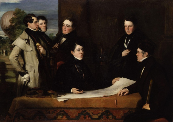 A Consultation prior to the Aerial Voyage to Weilburgh, 1836 by John Hollins. Robert Hollond is the seated figure in the centre. Image courtesy of Wikimedia Commons.