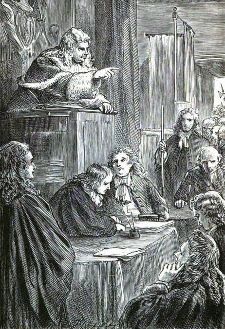 """A 19th-century artist's impression of Lord Chief Justice George Jeffreys presiding over the """"Bloody Assizes"""" in 1685, following the failed Monmouth Rebellion (image courtesy of Wikimedia Commons)"""