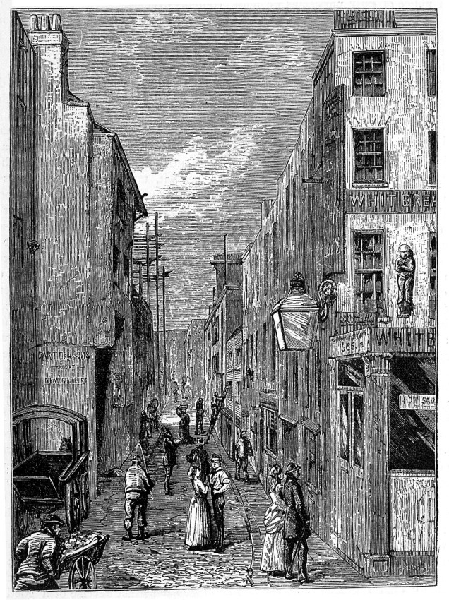 Cock Lane and Pye Corner. The cherub can be seen on the wall of the pub on the right in the picture.  Image from Wellcome Images.