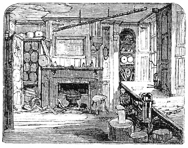 The haunted room at Cock Lane, as seen in Memoirs of Extraordinary Delusions and the Madness of Crowds, 1852 (image from Wikimedia Commons)