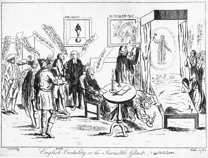 English Credulity, or the Invisible Ghost in Cock Lane, satirical picture from February 1762 (image from Wikimedia Commons)