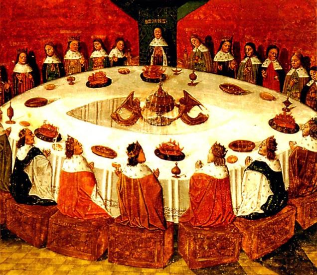 King Arthur and the Knights of the Round Table, painting by Michel Gantelet from 1472 (image from Wikimedia Commons)