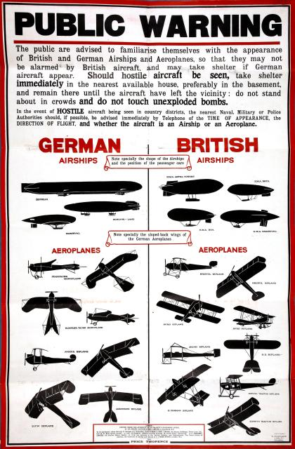 Poster designed to help people differentiate between German and British airships and aeroplanes (public doman image from the National Archives)
