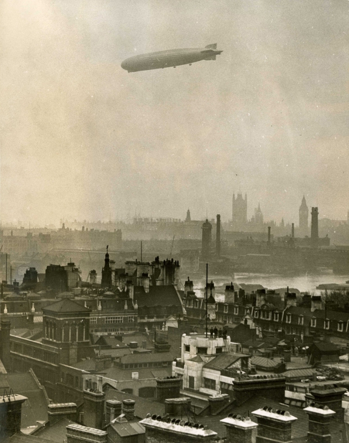 The Graf Zeppelin over London in 1930 (public domain image from the National Archives)