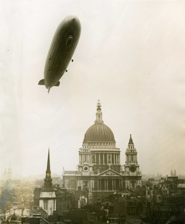 Graf Zeppelin flying over St Paul's Cathedral, 1930 (public domain image from the National Archives)