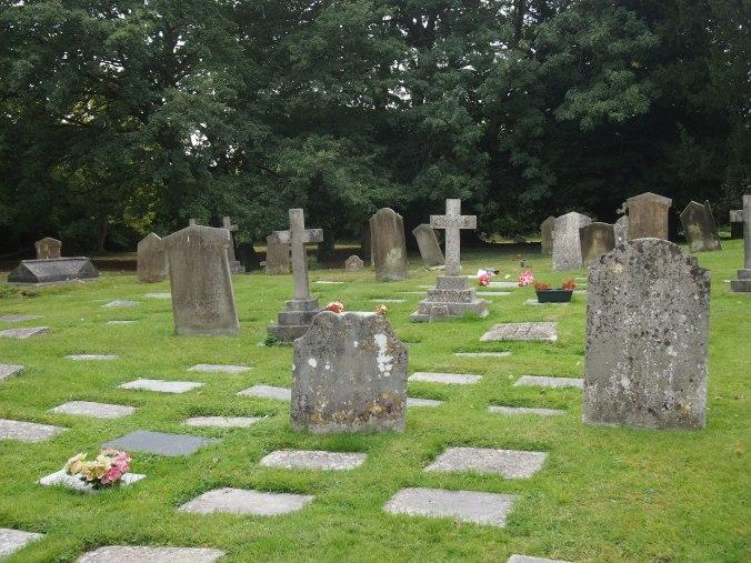 Modern cremation burials amongst 18th Century headstones