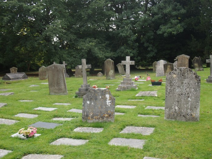 Modern cremation burials amongst 18th Century headstones
