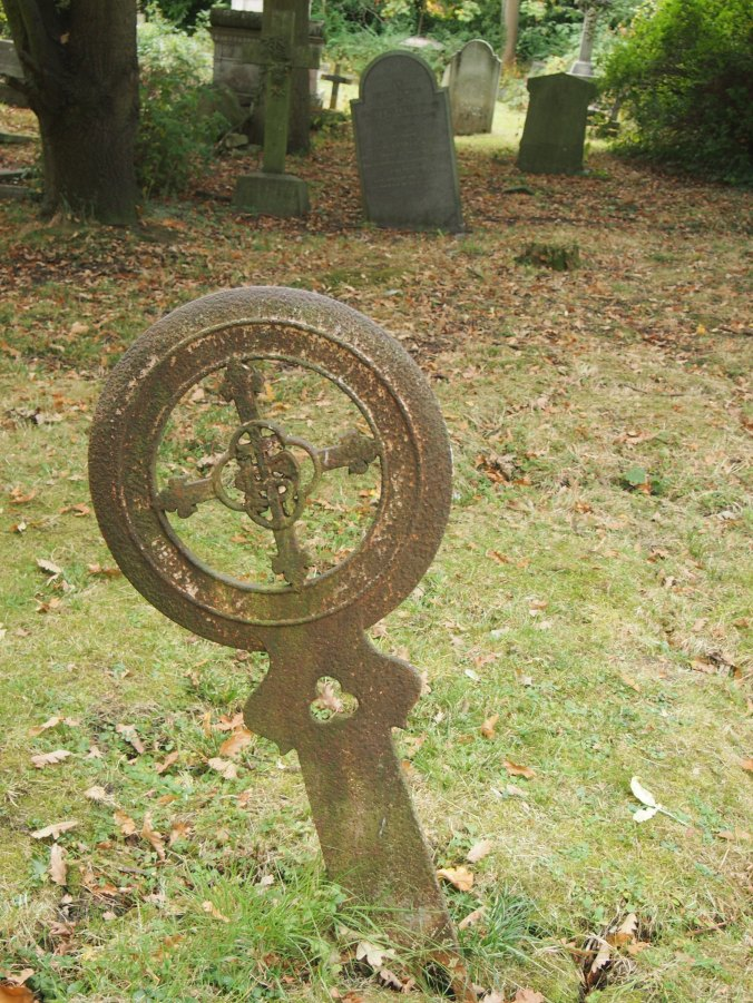 An unusual iron grave marker