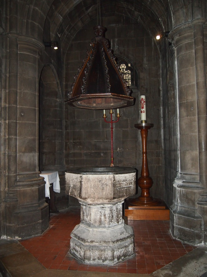 The artist William Hogarth was baptised in this font, which dates from [date]