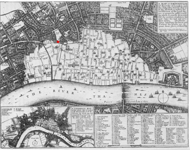 Contemporary map by Wenceslav Hollar showing the area destroyed by the Great Fire of London. Pye Corner is indicated by the red dot. Image from Wikimedia Commons.
