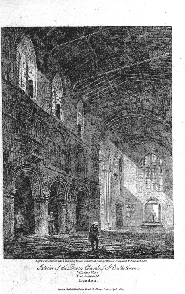 Interior of Great St Bart's in 1820, before the alterations made later in the 19th Century. Image from a book by Edward Brayley, digitised by the British Library and made available via Wikimedia Commons)