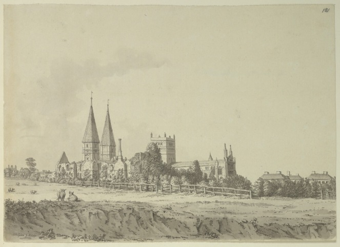View of Southwell Minster from the south east, by Sameul Hieronymus Grimm, 1791 (image from Wikimedia Commons)