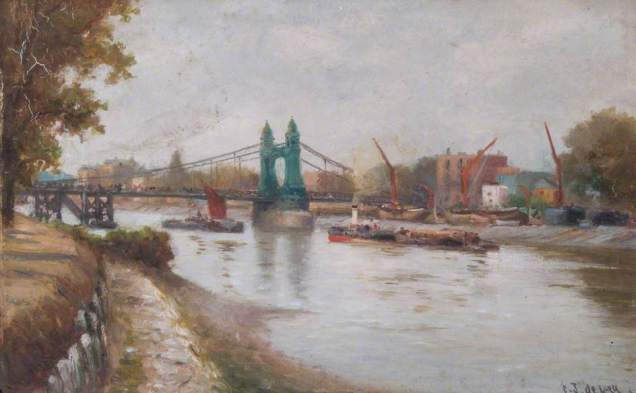 Hammersmith Bridge, by Charles John de Lacy (date) (image from Wikimedia Commons)