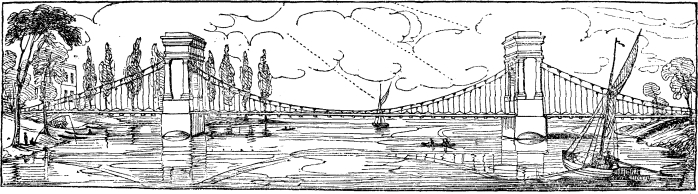 Hammersmith Bridge in 1827 (image from Wikimedia Commons)