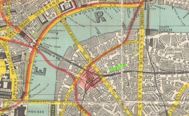 Roupell St, highlighted in green, on Smith's Tape Indicator Map of London (1910), image courtesy of Wikimedia Commons