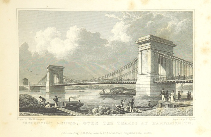 Suspension bridge over the Thames at Hammersmith, 1828 (image from Wikimedia Commons)