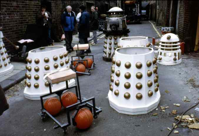 Behind the scenes of Remembrance of the Daleks, filmed on the Lambeth Estate (image by Don Smith for the Radio Times - source)