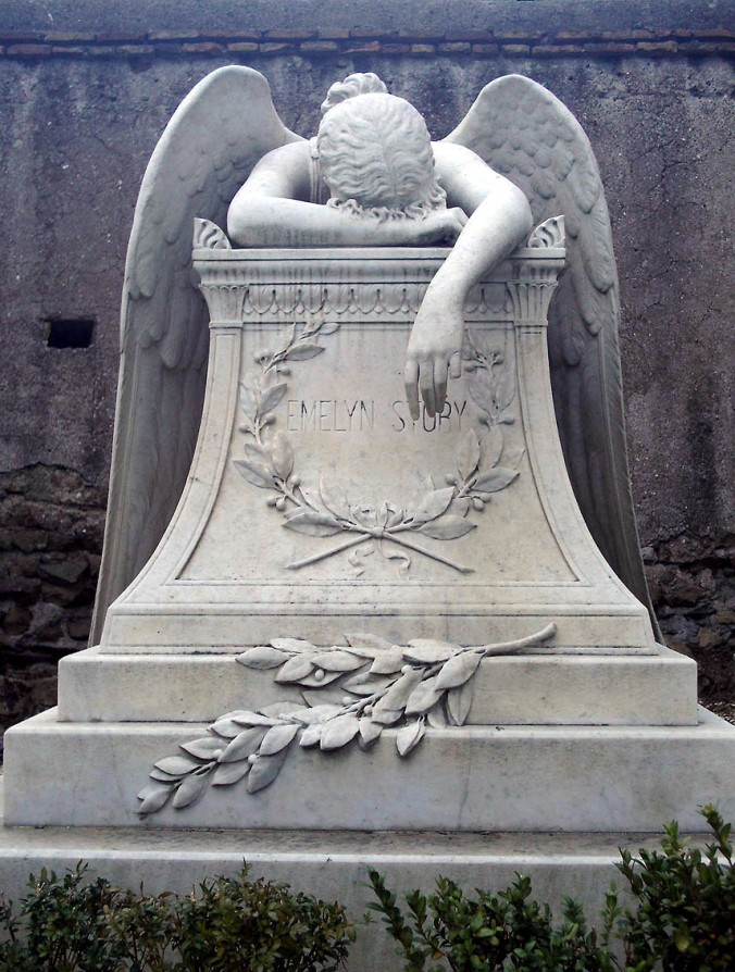William Wetmore Story's Angel of Grief, dating from 1894, at the Protestant Cemetery in Rome (image via Wikimedia Commons)