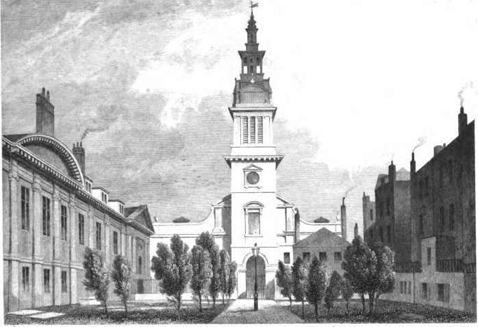 Christ Church Greyfriars, as depicted in London and its environs in the nineteenth century by James Elmes (1831) (image via Wikimedia Commons)