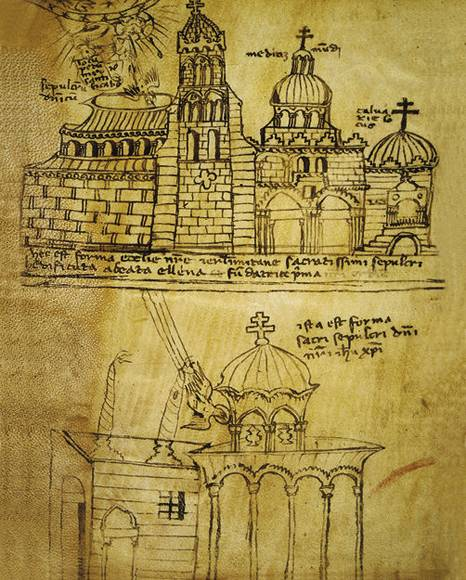 A 12th century depiction of the Church of the  Holy Sepulchre (image from Wikimedia Commons)