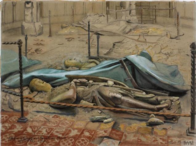 Watercolour by Norma Bull showing some of Temple Church's effigies lying in the rubble following bomb damage (image courtesy of the Imperial War Museum © IWM (Art.IWM ART LD 4899))