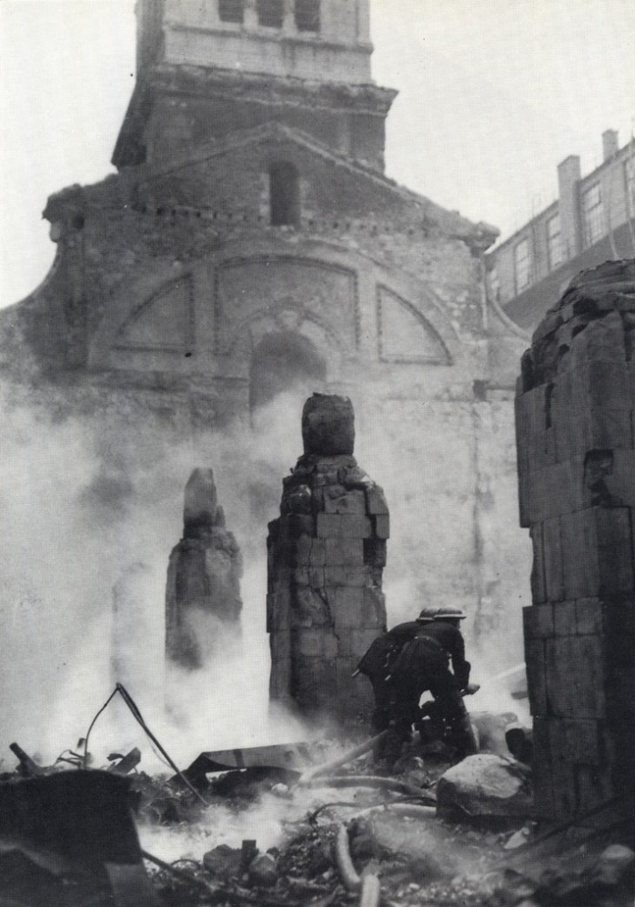 Firefighters in the smouldering ruins of Christ Church Greyfriars (image from The Citizens' Memorial)