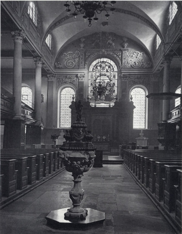 Undated photograph showing the interior of the church before its destruction in 1940 (image from