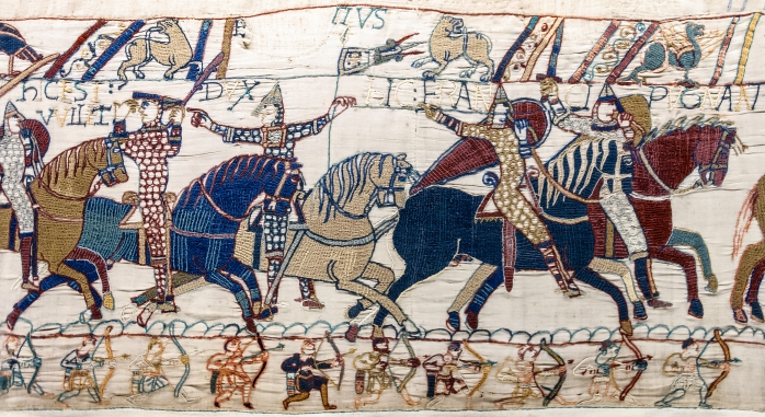 William the Conqueror (on the left), depicted on part of the Bayeux Tapestry (image from Wikimedia Commons)