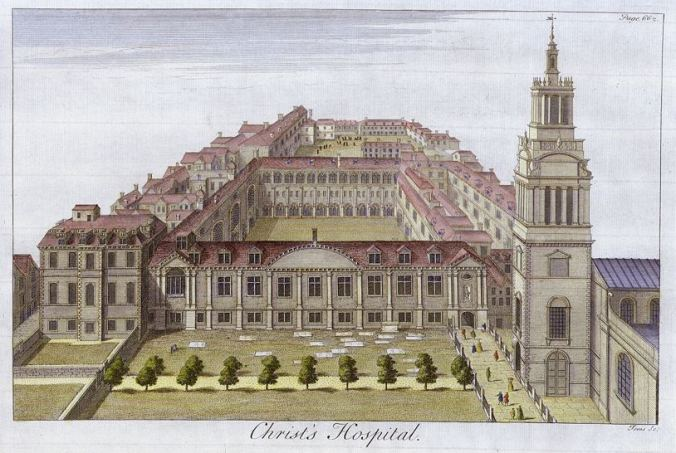 An engraving showing Christ's Hospital in 1770, with Christ Church pictured on the right (image from Wikimedia Commons)