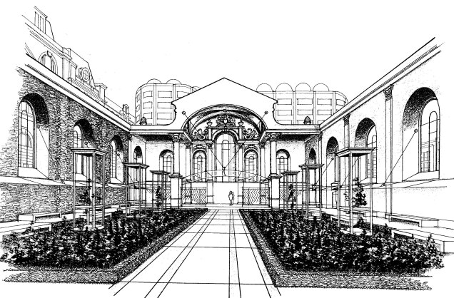 Proposed view of the restored eastern wall of Christ Church (image from the Citizens' Memorial)