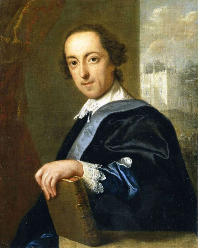Portrait of Horace Walpole by John Giles Eccardt, 1754. Strawberry Hill can be seen in the background (image from Wikimedia Commons)