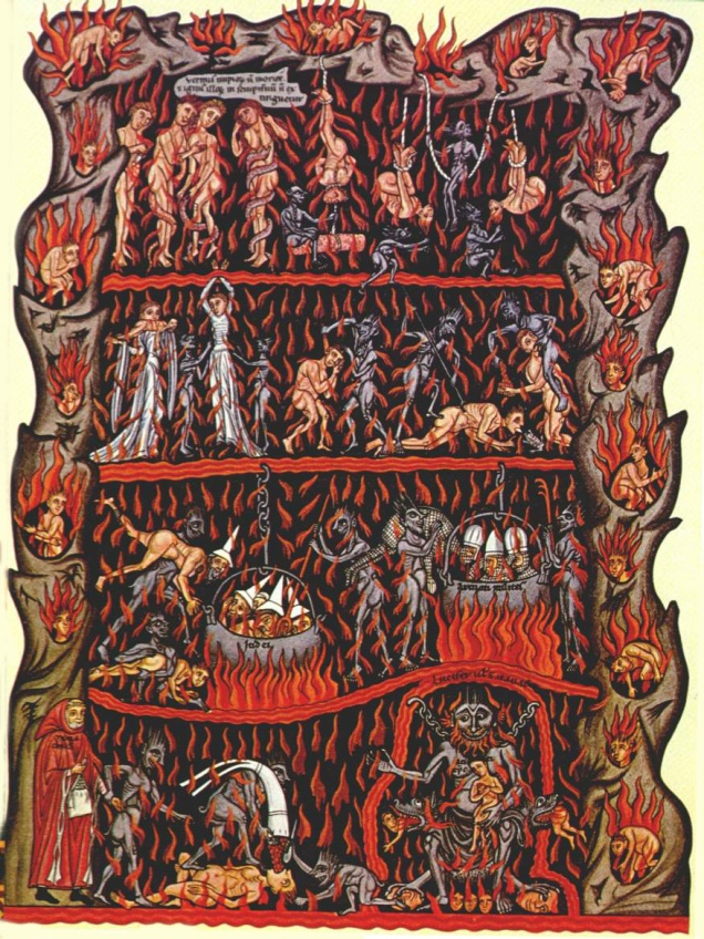 An image of hell from the 1180 manuscript encyclopedia Hortus deliciarum, by Herrad of Landsberg - produced at roughly the same time as the Lincoln Cathedral carvings (image via Wikimedia Commons)