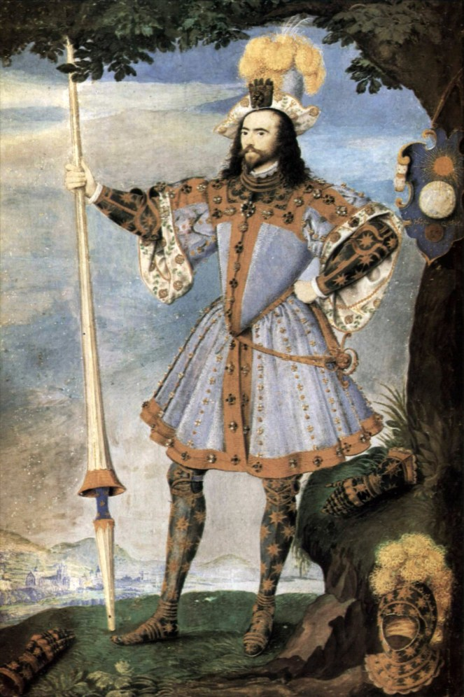 George Clifford, pictured wearing tilting armour, by Nicholas Hilliard (c.1590) (image from Wikimedia Commons)