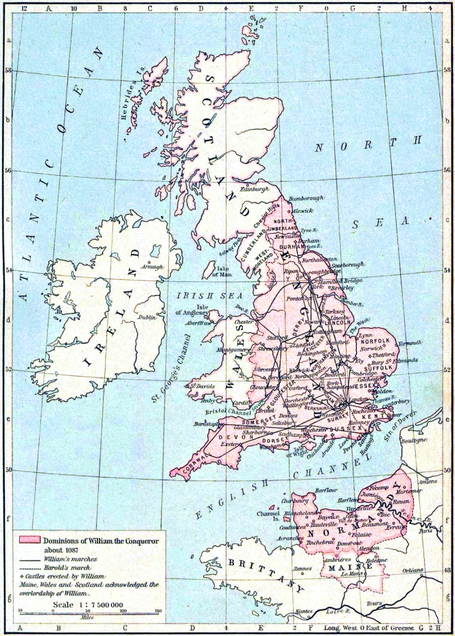 1926 map showing the extent of William I's lands (image from Wikimedia Commons)