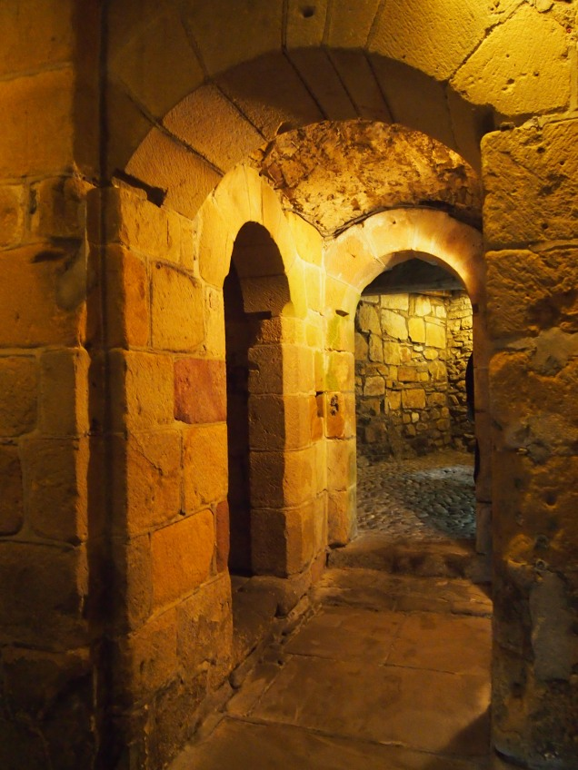 Norman arches leading down to the castle's dungeon - one of the oldest surviving parts of the castle
