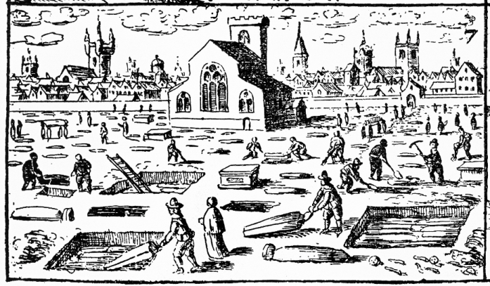 Plague burials taking place in London, 1665.  Image is a detail from a larger image by Wellcome Images