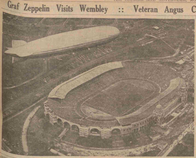 Image of the Graf Zeppelin flying over Wembley during the FA Cup Final of 1930 (Dundee Courier, 28th April 1930 Image © D.C.Thomson & Co. Ltd. Image created courtesy of THE BRITISH LIBRARY BOARD.)