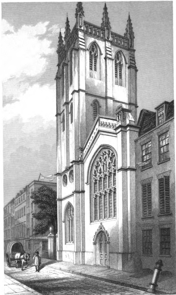 Exterior of St Alban, Wood St - image from The Churches of London by George Godwin, 1839 (via Wikimedia Commons)